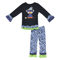 New Arrival Kids Halloween Clothing Set Cute Embroidery Owl Top Zebra Stripes Ruffle Pants Girls Cotton Winter Outfits H006