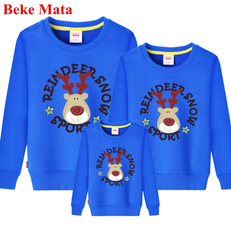 BEKE MATA Family Matching Outfits Christmas Elk Winter 2017 Mother Daughter Clothes Sets Family Look Father Son Clothing Sweater