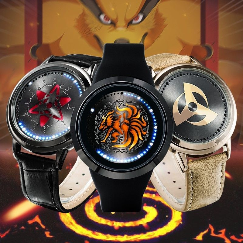 Naruto Uchiha Sasuke Sharingan Dynamic Rotate Led Watch Waterproof Touch Screen Digital Light Wristwatch Cosplay Props Gift New Quality First Costume Props