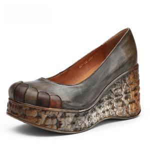 Image 2 - GKTINOO yeni kalın taban takozlar topuklu bahar ve yaz kadın ayakkabısı sığ ağız hakiki deri el yapımı Retro platformu pompaları