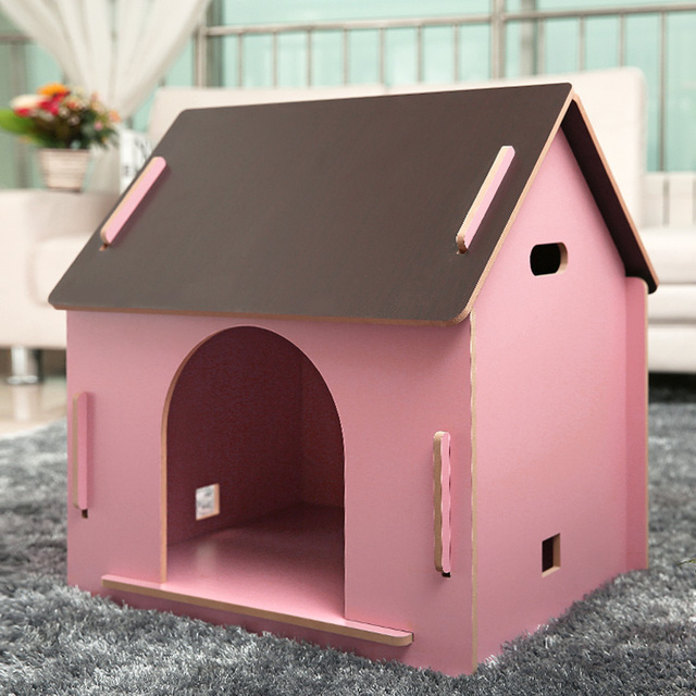 Outdoor Wood Wooden Dog House Pet Kennel Cat Litter To Send Warm