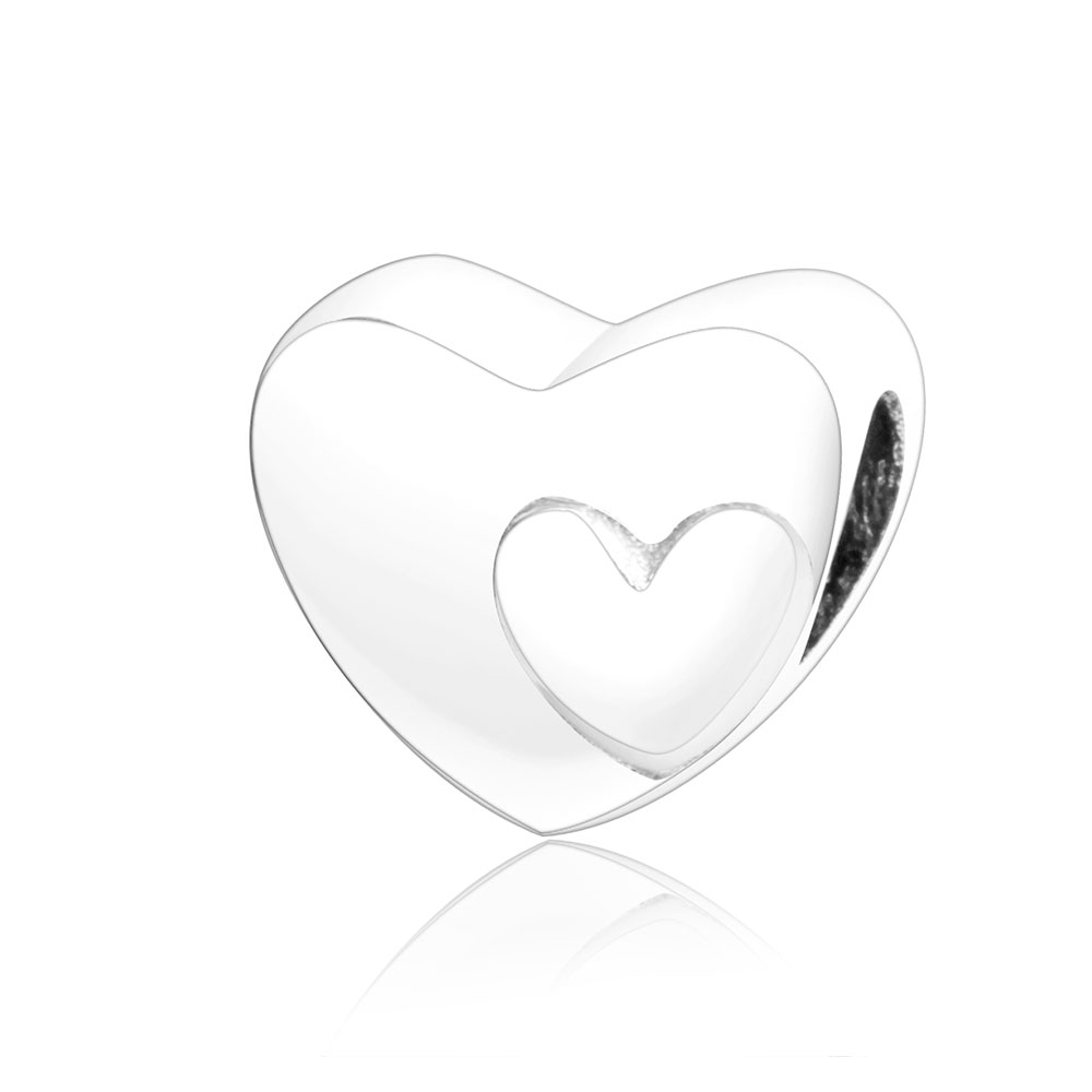 2018 New Spring 925 Sterling Silver Heart to Heart Charms Beads Fits Original Pandora Charm Bracelet DIY Jewelry Making berloque