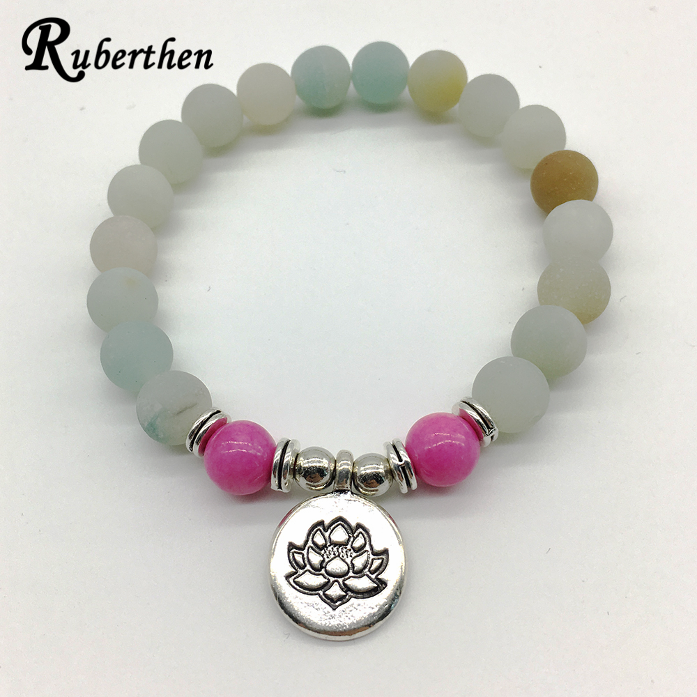Ruberthen New Design Matte Amazonite Bracelet Trendy Yoga Natural Stone Bracelet Vintage Women`s Lotus Yoga Mala Jewelry