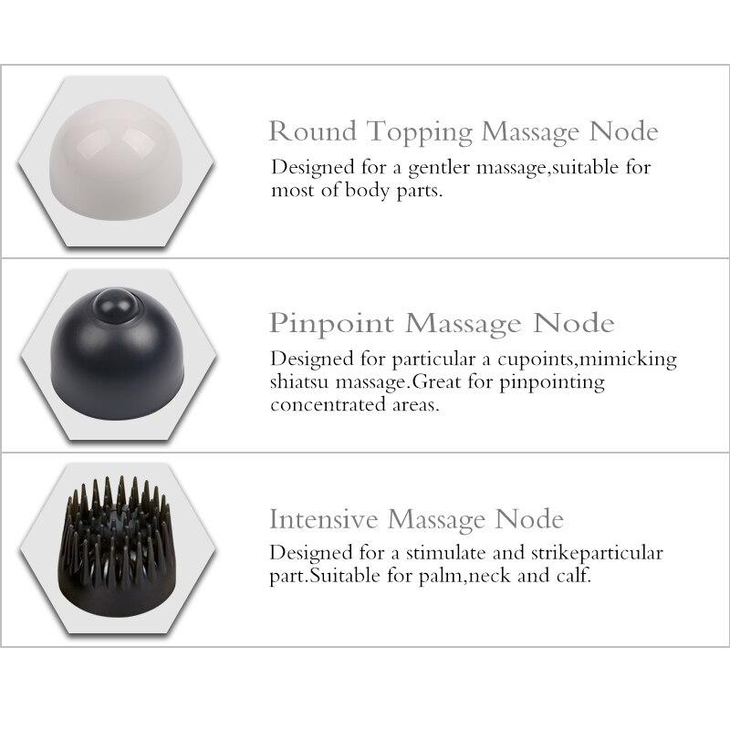 LUYAO Electric Double Head Handheld Massage Stick Multifunction Neck Body Vibration Massager 3 sets replaceable massage heads