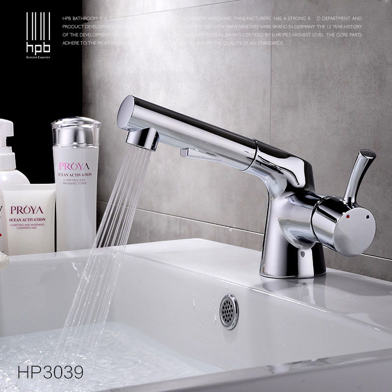 HPB New Design Pull Out Brass Bathroom Faucet Sink Basin Mixer Tap Cold Hot Water taps robinet grifos para lavabos HP3039 kitchen chrome plated brass faucet single handle pull out pull down sink mixer hot and cold tap modern design