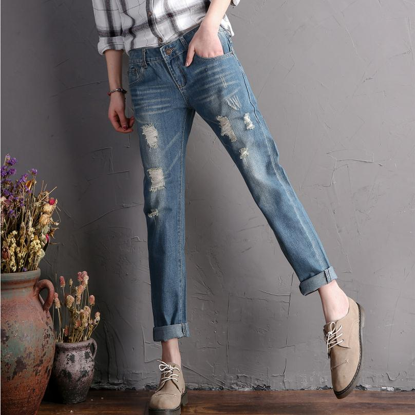 2017 Spring and autumn women's bleached Slim cotton ankle-length jeans was thin  jeans personality small hole harem pants wj930