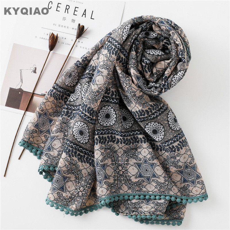KYQIAO women original designer neck   scarf   female autumn winter Mexico style vintage boho long printed   scarf     wrap   muffler
