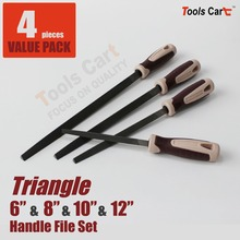 4 PC Hand Steel Files with Triangular Body for Wood Working Plastic Handle  T681012-M