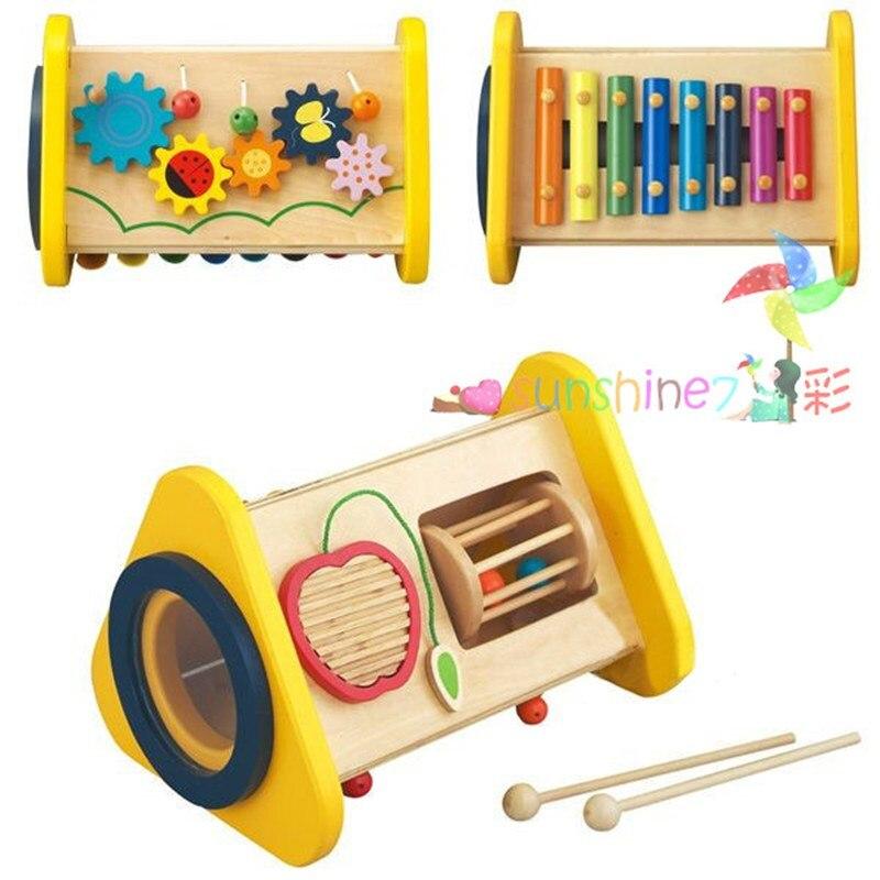 Candice guo jouet en bois bois éducatif 3-en-1 xylophone frapper piano gear apple bell bébé jeu de musique cadeau cadeau de noël 1 pc