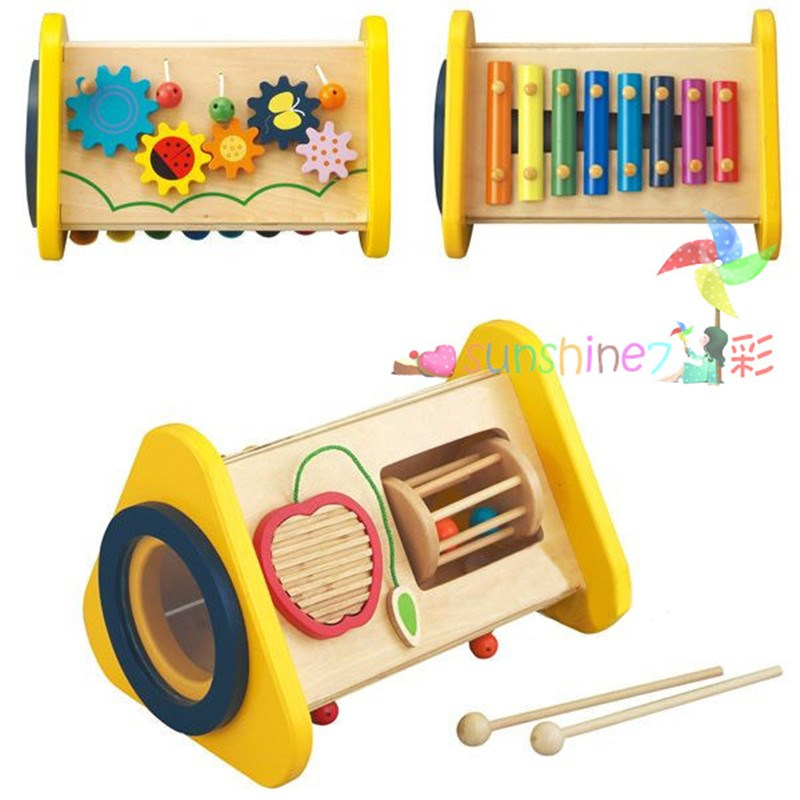 цена на Candice guo wooden toy wood educational 3-in-1 xylophone knock piano gear apple bell baby music game gift christmas present 1pc