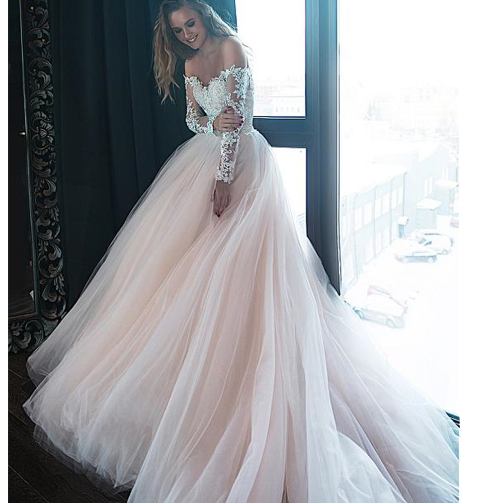 Sexy Off The Shoulder Ball Gown Wedding Dresses Gorgeous Tulle Beaded Lace Appliques Nude Bridal Gowns Long Sleeves