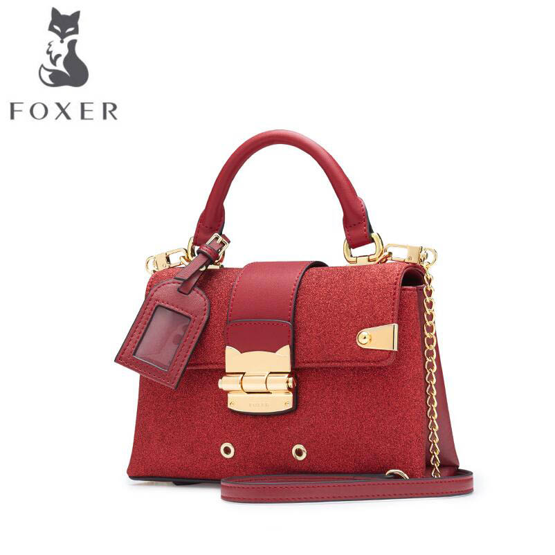 FOXER2018 high-quality luxury fashion new European and American stars handbag anti-theft buckle small square bag shoulder bag high tech and fashion electric product shell plastic mold