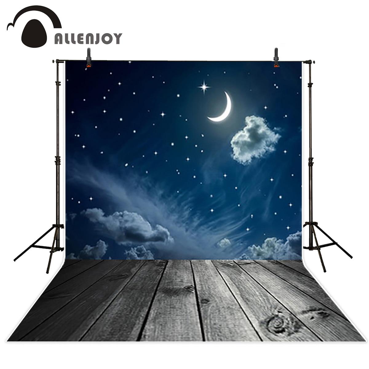 Allenjoy vinyl backdrops for personal taking photos Blue sky moon cloud wooden floor for photo vinyl photographic background blue sky чаша северный олень