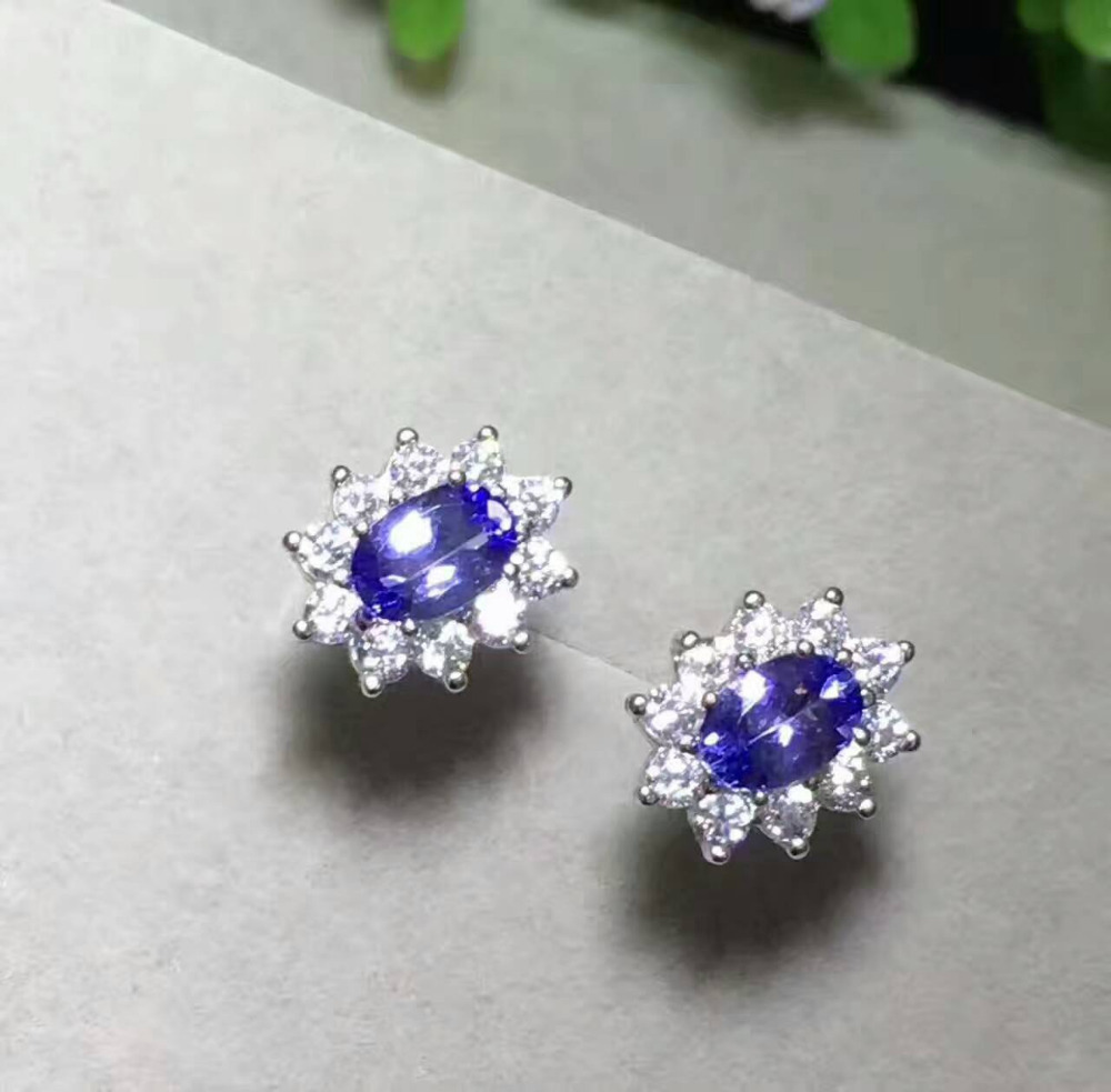 Fashion Natural Tanzanite Stud Earrings Natural Gemstone Earrings Elegant  Diana Round S925 Silver Girl Women Earrings Jewelry