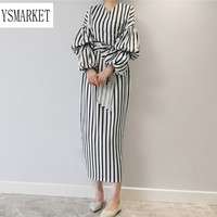 YSMARKET Muslim Womens Striped Maxi Dress Fashion Lantern Sleeve V neck Sexy Long Dresses Elegant Casual Ladies Wear To Work