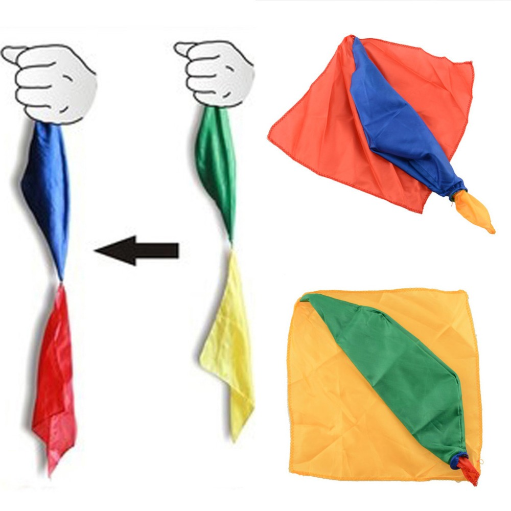 Magic Trick By Mr. Tricks Joke Props 22cm * 22cm Tools Magician Supplies Toys Change Color Silk Scarf Gifts For Kids Children