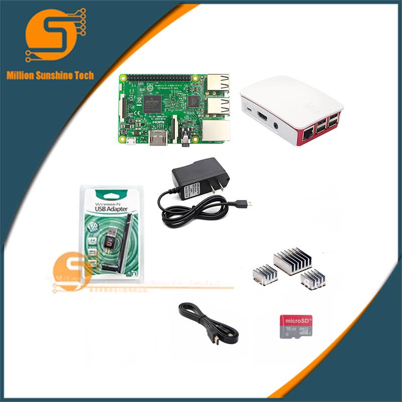 Raspberry pi 3 + Heat sink+ Case+150M wireless network card mini WiFi receiver+power supply+16G SD+ HDMI cable free shipping