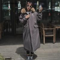Hirsionsan Winter Jacket Women 2017 Korean Large Raccoon Fur Hooded X Long Jacket Thicken Warm Padded