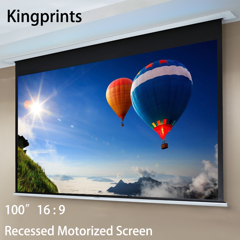 100inch 16:9 Recessed Motorized Projection Screen In Ceiling Electric HDTV Projector Screens With IR Remote Control For 3D 4K 120 16 9 aluminum in ceiling recessed electric projector screen with 3 in 1 remote control sets