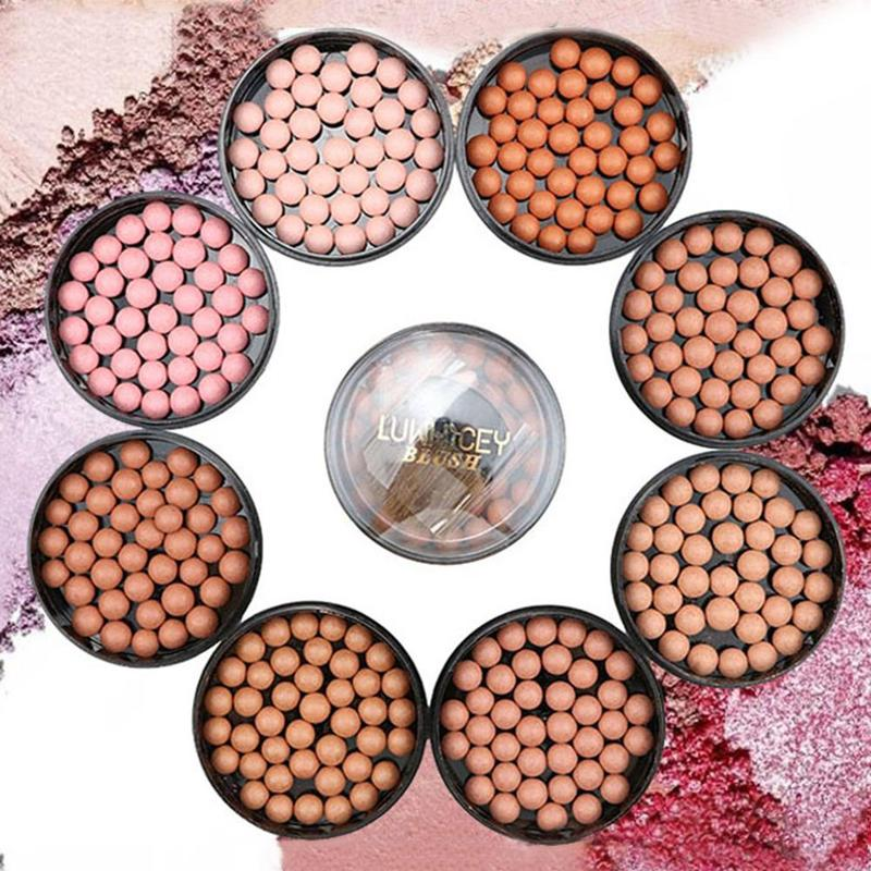 2019 Natural Face Blush Ball Waterproof Blush Highlightr Long Lasting Pigments Matte Oil-control Contouring Blush Make Up Brush