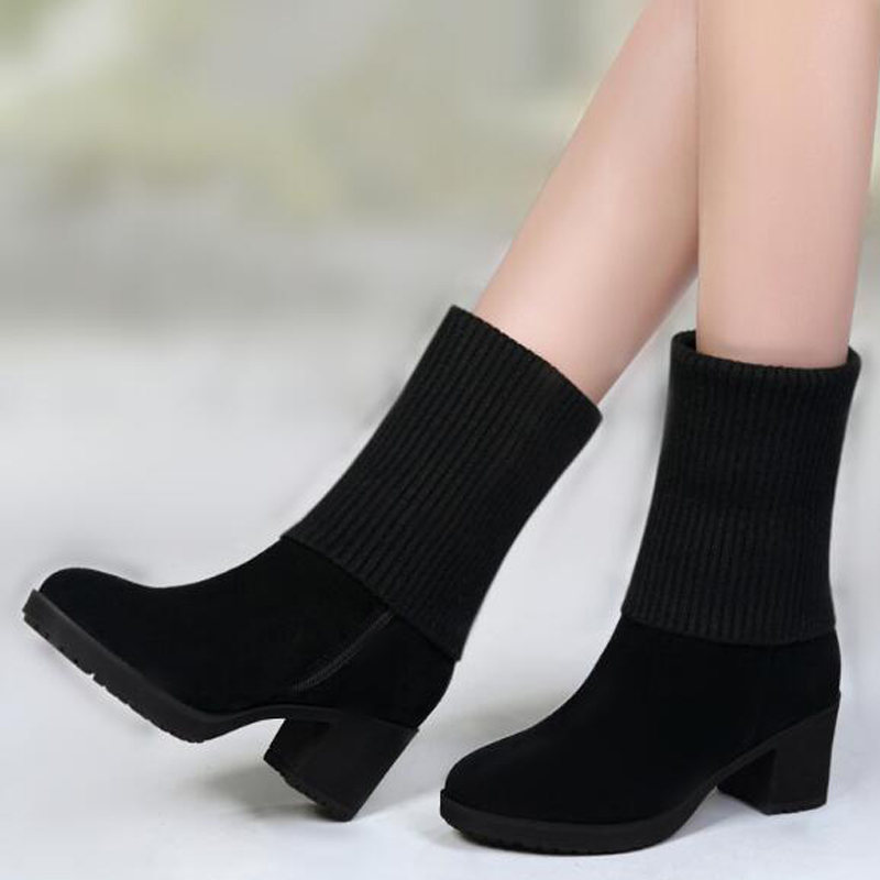 Fashion Womens Boots Casual Winter Snow Boots High Heels Fur Shoes Lady Size 40 41 aa0595