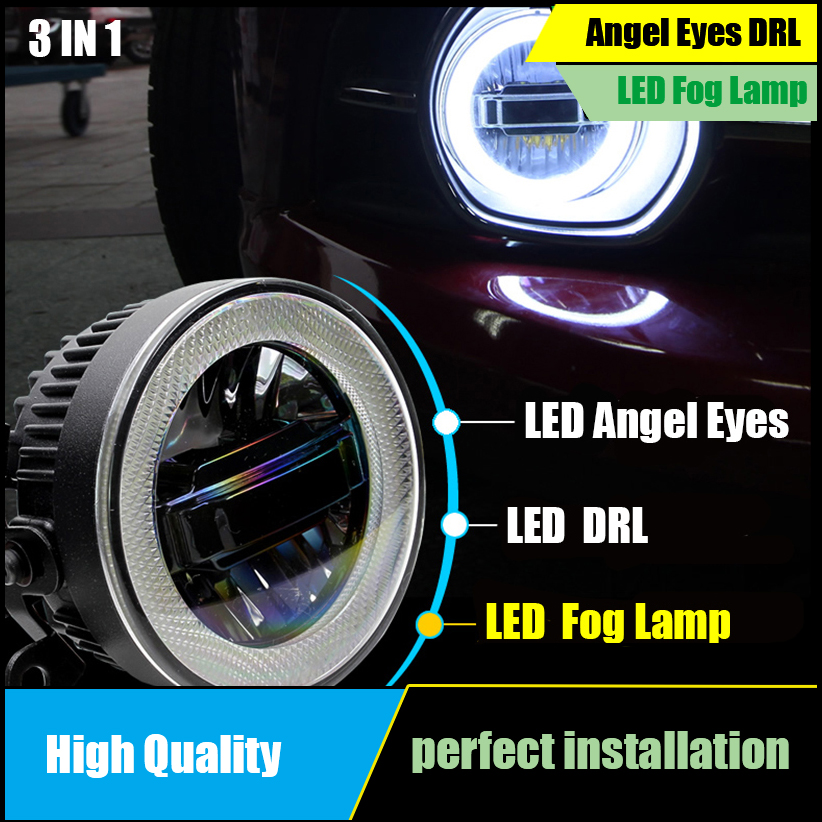For Mitsubishi ASX 2011 2015 Fog light LED Angel Eyes Daytime Running Light DRL Car Projector 3 IN 1 Functions Fog Lamp