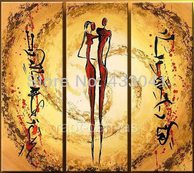 Hand Painted 3 Piece/sets Wall Art Red/Yellow Nude Lovers sunshine ...