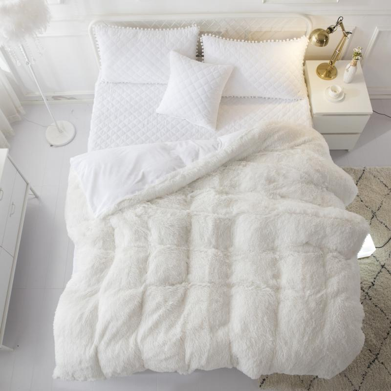 Fleece Warm 160X200cm Russian size Bedskirt White PGray Bedding Set QUEEN Duvet Cover Bed spread set
