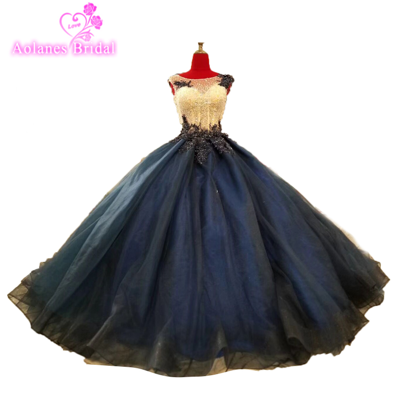 2018 Dark Blue Sexy Long   Prom     Dresses   Sleeveless Crystals Beading Puffy Lace Tulle Evening Gowns Formal Long Party   Dresses