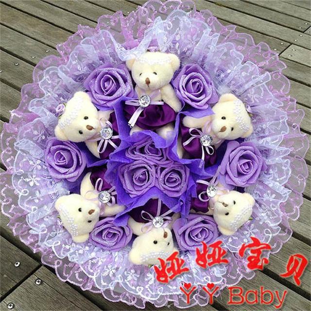 Soft Plush Toy Bouquet Teddy Bear Bouquet Cartoon Doll with PP Cotton Rose Valentine/Graduation Gift Pink/Purple