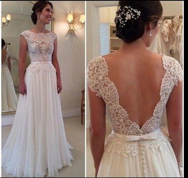 Open Back Empire Lace Wedding Dress Plus Size Appliques Sleeveless ...