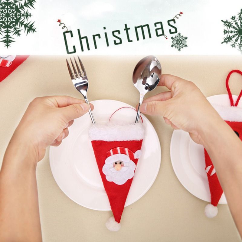Home Fashion Christmas Style Knife and Forks Small Cap Christmas Decoration Desk Party Supply Decorations Funny Style