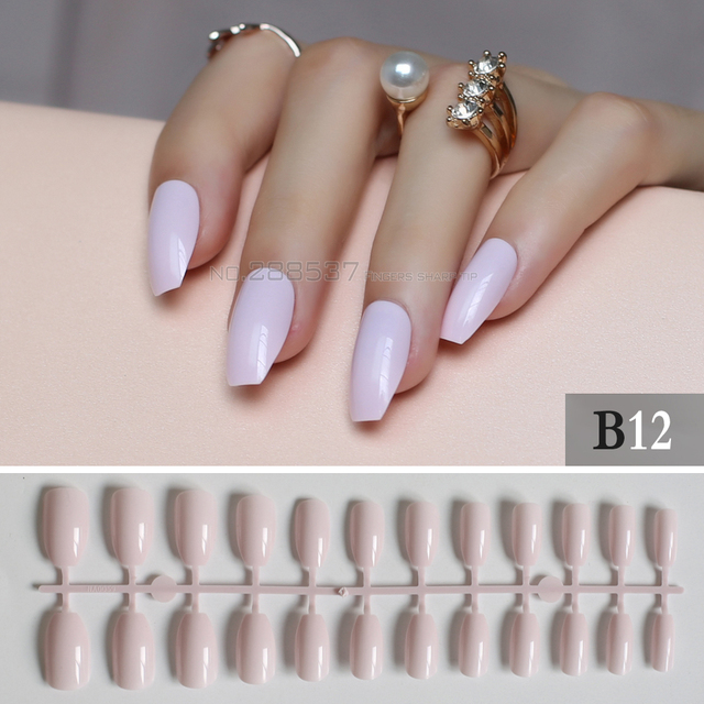 dc34e06c4f7 Light pink Full Nail Simple Artificial elegant Ballerina Fake nail 24pcs  coffin nail tips Designs Pure colour False nails B12