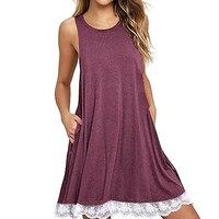Summer Lace Up Woman Mini Dress Beach Bohemian Sleeveless Round Neck A Line Loose Casual 2XL