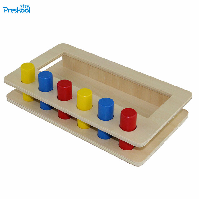 Montessori infant Toy Wood Tri-color cylinder insert box Learning Educational Preschool Training Brinquedos Juguets 24 months