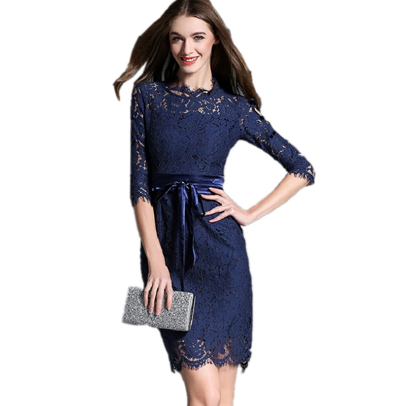 New Fashion Ladies Party Dresses 2016 Fall Elegant Lace Dress Half Sleeve Blue & Red Women Dress Brand Womens Clothes DR442