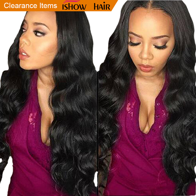 Ishow Hair Brazilian Body Wave Bundles 100% Human Hair 3 eller 4 - Menneskehår (sort)