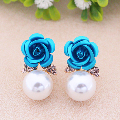 Lovely rose flowers Earrings Flower simple sweet rose ear nail  round ear nails earring roses