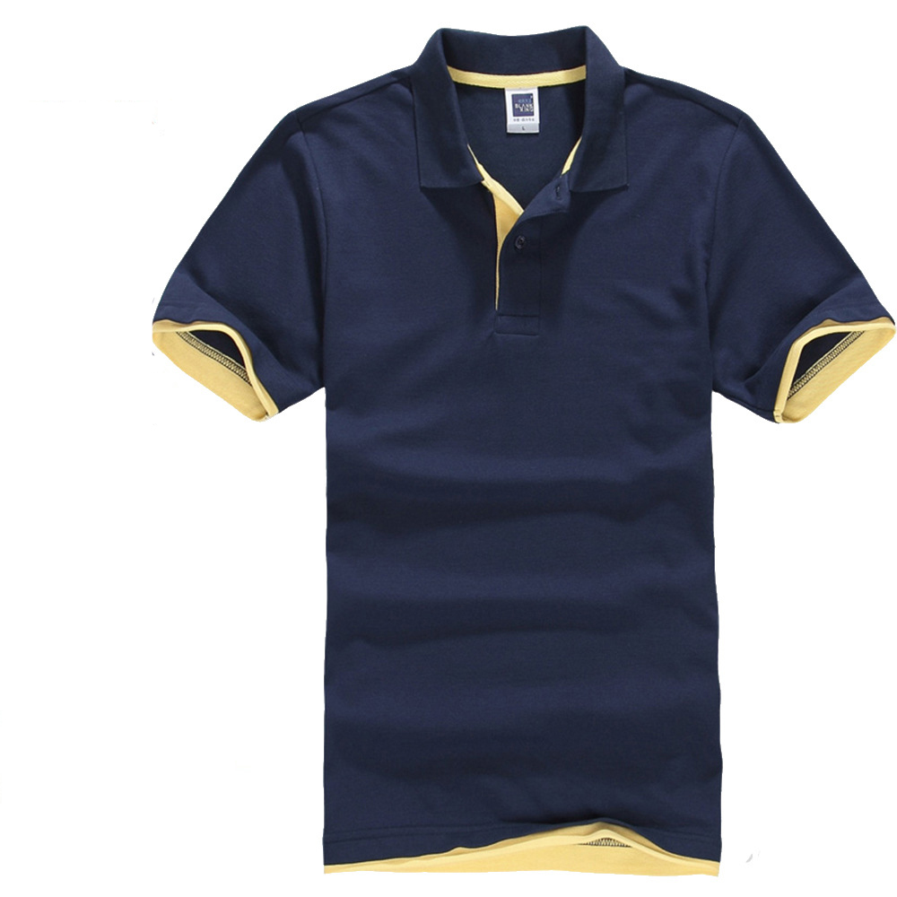 2019 Modis Solid Patchwork Color Men's   Polo   Shirt Short Sleeve Lapel   Polo   Shirt Men 1AC05