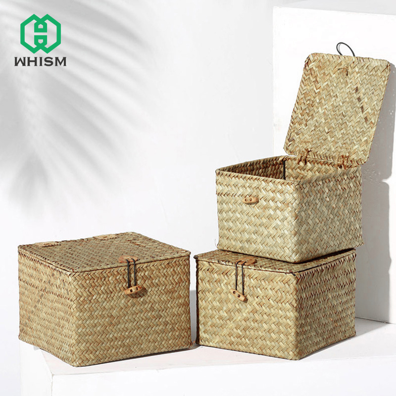 WHISM Storage-Boxes Basket Cover Cosmetic Square Seagrass Handmade Debris Desktop