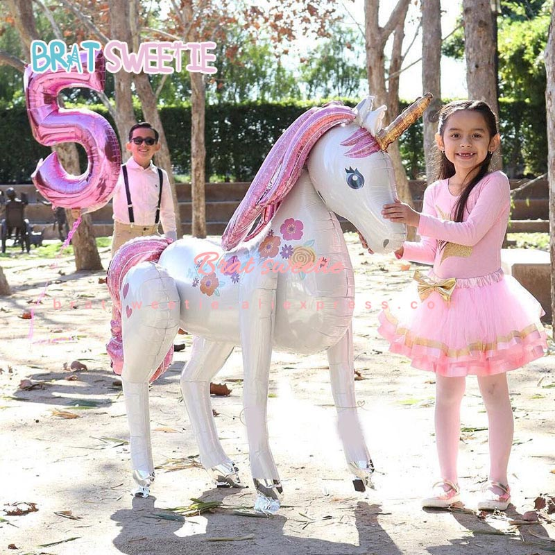 Unicorn Party Xmas Christmas Decorations Supplies 3D Large Unicornio Animal Foil Balloons Girls Birthday Party Favors-in Ballons & Accessories from Home & Garden