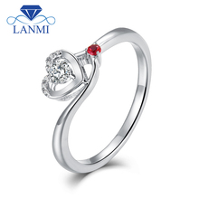 LANMI Heart Shape Jewelry Solid 18Kt White Gold Bling 0.1ct Diamond Wedding Promised Ring with Ruby for Women Loving Gift