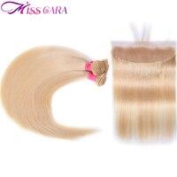 Miss Cara 613# Blonde Peruvian Straight Hair Bundles With Frontal 100% Remy Blonde Human Hair 3 Bundles With Frontal