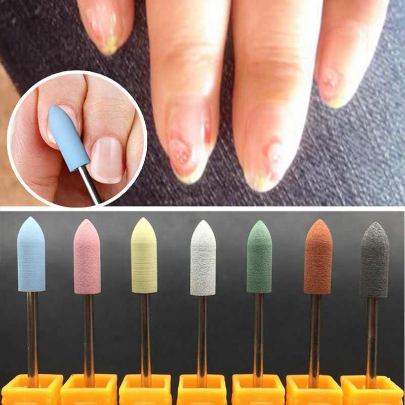 1 PC Lange Gewehrkugel Kopf Nagel Bohrer Gummi Silicon Material Bits Nagel Puffer Maschine Für Maniküre Nail art Zubehör