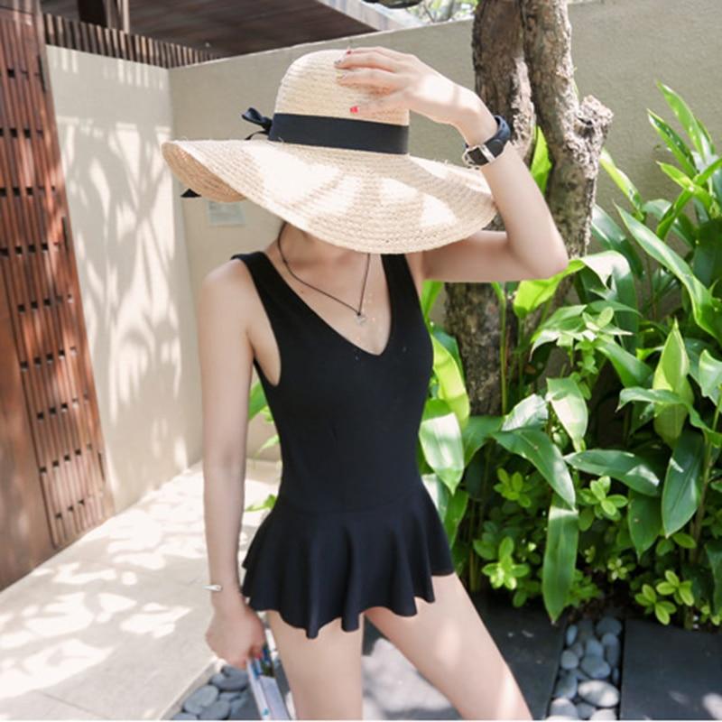 2016 New Arrival Womens One Piece Swimwear Ruffled Swimdress Beachwear Sexy Deep V Neck  ...