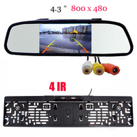 Parking Systems HD 4.3 INCH 800 x 480 Mirror Car Monitors Europe License Plates Camera FOR Car Reversing Rear View Cam