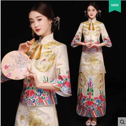 Mariée Moderne Cheongsam Chinois Robe Traditionnelle De Mariage Qipao Su  Broderie Robe Robe Chinoise Oriental Style