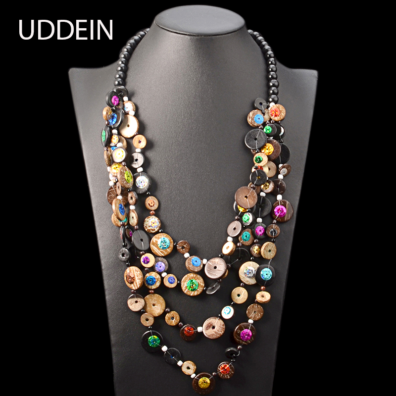 UDDEIN Bohemian Ethnic Necklace Women Black Wood Chain Vintage Statement Long Necklace Handmade Multi Layer Wood Jewellery
