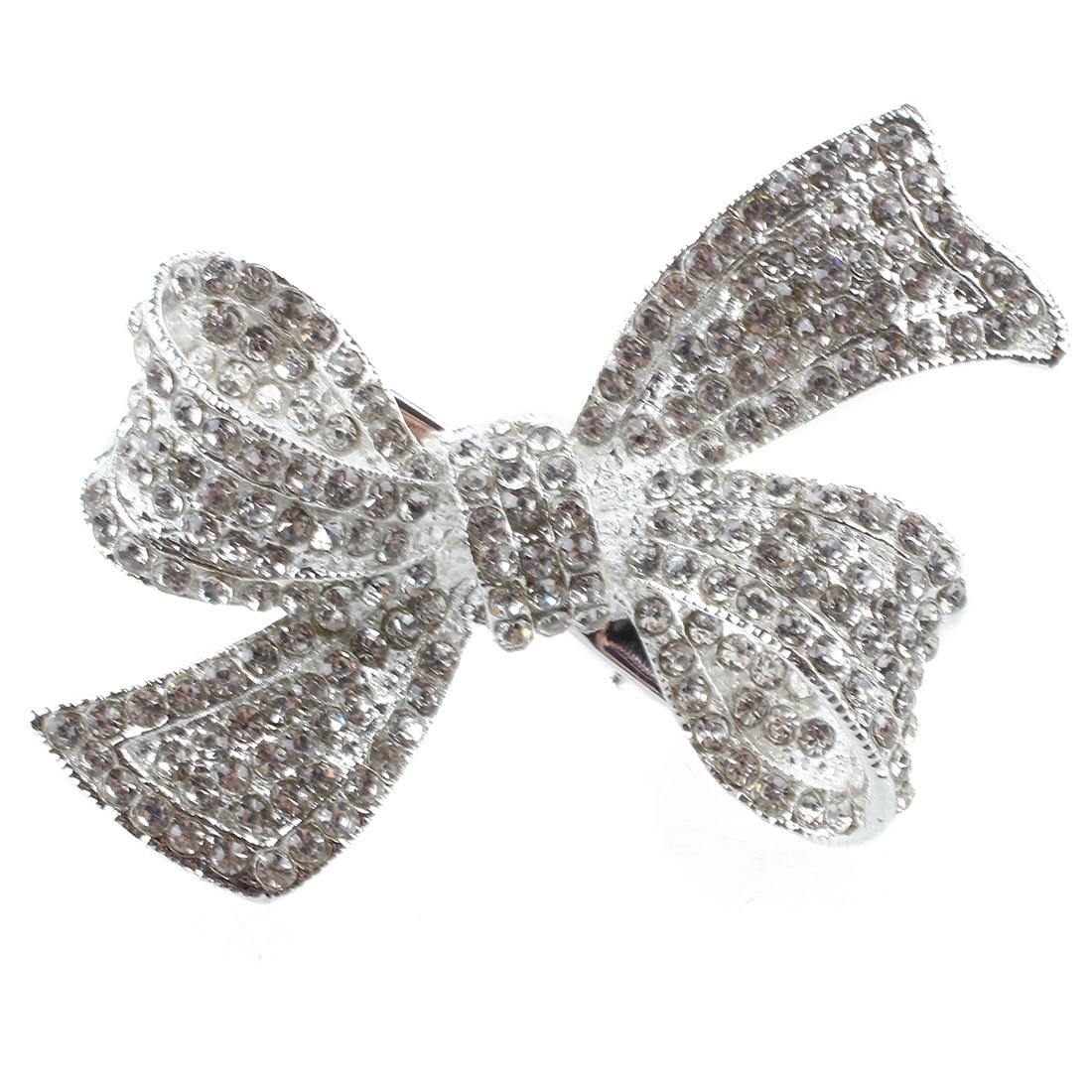 MYPF-Silver plate rhinestone knot hair clip 54MM gils decoration