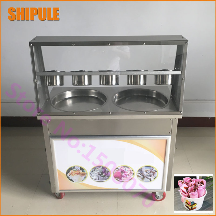 Free shipping stainless steel Double compressor fry ice cream machine ice pan machine fried ice cream roll machine single pan double compressor fried ice cream machine stainless steel fried ice cream roll machine intelligent fried ice machine
